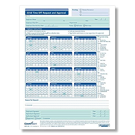 Amazon Com Complyright 2018 Time Off Request Approval Calendar