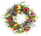 Melrose Pack of 2 Spring Purple, Pink and Green Artificial Mixed Floral Wreath 24""