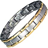 IonTopia Atlas Titanium Magnetic Therapy Bracelet Gold Edges L with Free Links Removal Tool