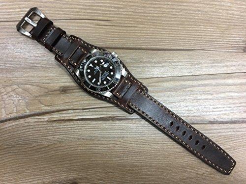 real-leather-cuff-watch-band-handmade-cuff-watch-band-pure-brown-watch-band-leather-cuff-watch-strap