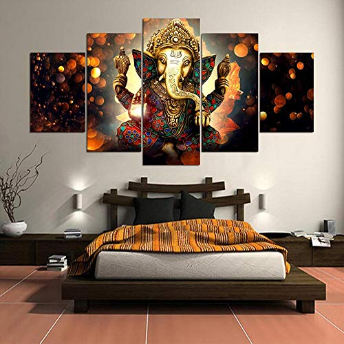Alasijia 3D Canvas Painting Wall Art Home Decor Frame 5 Pieces Ganesh Elephant Trunk God for Living Room Modern HD Printed Landscape Picture-20CMx35/45/55CM