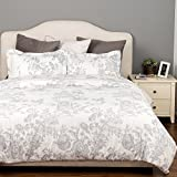 Bedsure Duvet Cover Set with Zipper Closure-Printed Grey Toile Reversible Design,Full/Queen (90''x90'')-3 Piece (1 Duvet Cover + 2 Pillow Shams)-Ultra Soft Hypoallergenic Microfiber
