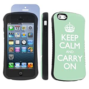 Apple iphone 5C Ultra Shock Absorbent Tough Grip Black Case + Screen Protector By SkinGuardz - Mint Keep Calm And Carry On