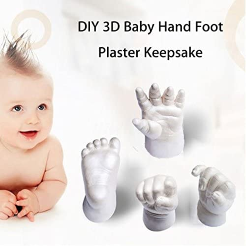 White 3D Plaster Hand Print Kit Footprint Baby Mold Hand/&Foot Casting Gessppo