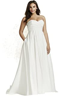 73122ba0c8ea David s Bridal Faille Empire Waist Plus Size Wedding Dress Style 9WG3707