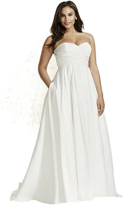 Faille Empire Waist Plus Size Wedding Dress Style 9WG3707