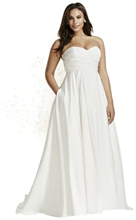 Davids Bridal Faille Empire Waist Plus Size Wedding Dress Style