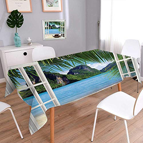(L-QN Harmony Scroll Tablecloth Palm Trees in Ocean Heaven Sunbeds Balcony White Wooden Windows Summer Tropical Blue Cover Assorted Size 55