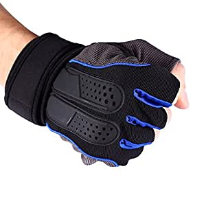 1 Pair Half Finger Weightlifting Gloves Gym Fitness Training Half Gloves Outdoor Sports Workout Exercise Accessory (Color : Blue, Size : M)