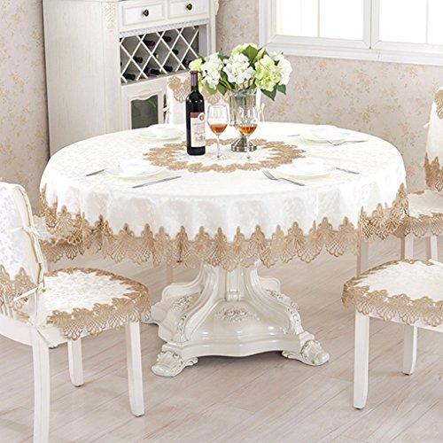 Blanc ROUND-180CM QWM-Grande nappe Nappe, Nappe en dentelle en tissu Nappe ronde Tissu de table Nappe Tissu de table de café QWM-couverture de table ( Couleur   Blanc , taille   ROUND-180CM )