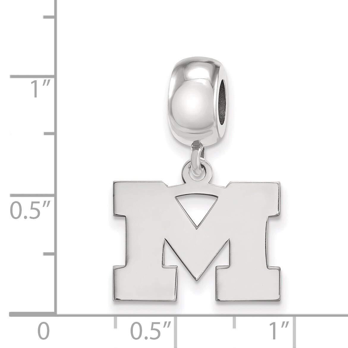 Lex /& Lu LogoArt Sterling Silver Univ of Michigan Small Dangle Bead