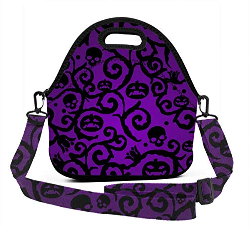 ART TANG Happy Halloween Purple Pumpkin Lunch Bag Travel Zipper Organizer Bag, Waterproof Outdoor Travel Picnic Lunch Box Bag Tote Backpack with Zipper and Adjustable Crossbody -