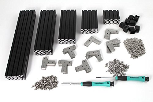 MakerBeam XL Regular Starter Kit black anodized including beams, brackets, nuts and bolts by MakerBeam XL