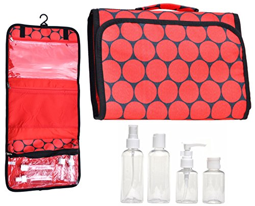 [Large Hanging Red Travel Makeup Toiletries Cosmetic Bag Case Organizer with 4 Pack Travel Size Bottle Set Unique Gift for Her Him Wife Husband Teen Girl] (Last Minute Costume Ideas For Guys)