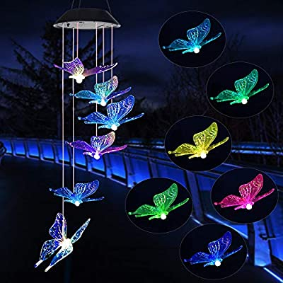 Wind Chime,solar lights chimes?butterfly wind chimes led/solar hummingbird wind chime Outdoor decor,yard decorations solar light mobile,memorial wind chimes,(gifts for mom?birthday gifts for mom)