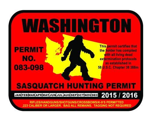 Washington Sasquatch Hunting Permit License Bigfoot Vinyl Sticker Decal
