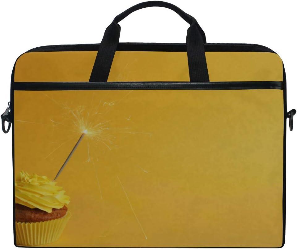 Briefcase Messenger Shoulder Bag for Men Women Laptop Bag Fresh Tasty Cupcake Sparkler On Yellow 15-15.4 Inch Laptop Case College Students Business