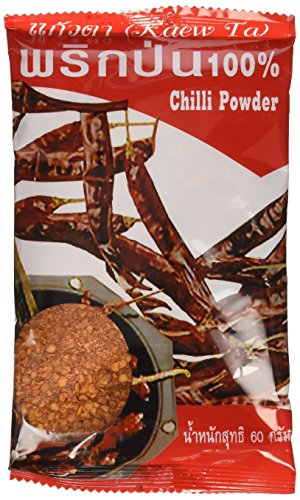 Dried Chilli Powder (Prik Pon) 100% Natural Very Spicy Thai Style Net Wt 60 G (2.11 Oz) Kaew-ta Brand X 4 Bags by Kaewta