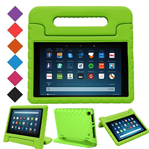 "MENZO Case for All-New Fire HD 8 2017 - Shockproof Convertible Handle Light Weight Protective Stand Cover Kids Case for All-New Kindle Fire HD 8"" 2017 Tablet, Green"