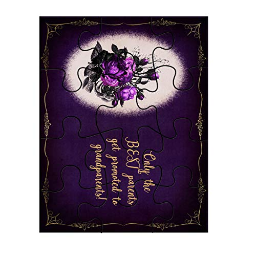 Jigsaw Puzzle Only The Best Parents Get Promoted to Grandparents! Shabby Chic Bouquet Plaque On Purple Background