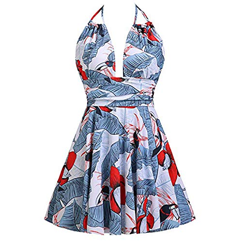 fun-ttore Plus Size Swimwear Women's Sexy 1 Piece Bikini Swimsuit Print Swim Dress Skirted badpak Dames #7,Multi,S,China