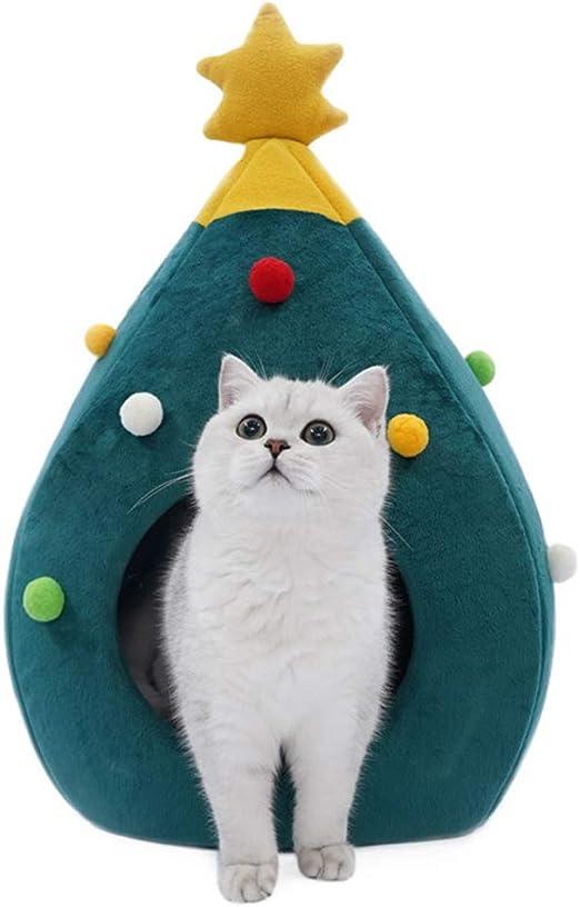 MOTOULAX Christmas Pet House, acogedora Cama para Mascotas con Forma de árbol de Navidad para Gatos y Perros, Cama para Dormir, Cama Suave y cálida de Invierno, Regalo para Mascotas: Amazon.es: Productos