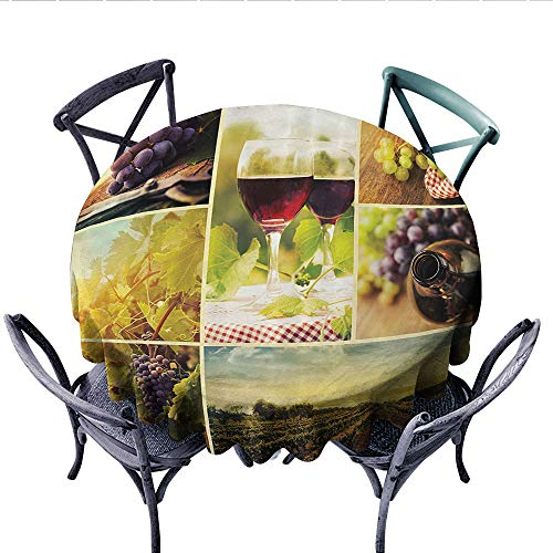 Home Decor Collection Dinner Picnic Table Cloth Rustic Style Collage of Wine Glass Grapes and Vineyard Qualified Harvest Village Picture Art Round Wrinkle Resistant Tablecloth (Round, 54 Inch, Green R