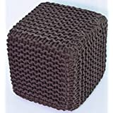 Large Handmade Cube Square Chunky Knitted 35cm Pouffe 100% Cotton Footstool Cushion Seat Moroccan Hand Knit Foot Stool (Brown) by AHOC