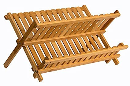 Amazoncom Sagler Wooden Dish Rack Plate Rack Collapsible Compact