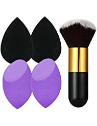 4+1 Pcs Makeup Sponges Set Blender Beauty Cosmetics Tool with Foundation Brush Professional Beauty Sponge Blenders Perfect for Liquid Foundation, Cream and Powder (4 Sponges+ 1 Foundation Brush)