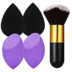 About product:A Foundation Brush4 PCS beauty sponges (2 Black and 2 Purple) 1. Use the point of sponge to touch hard-to-reach places, such as skin around the eyes, nose wing.2. Use the round base for foundation and blush on the larger areas o...