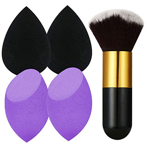 4+1 Pcs Makeup Sponges Set Blender Beauty Cosmetics Tool with Foundation Brush Professional Beauty Sponge Blenders Perfect for Liquid Foundation, Cream and Powder (4 Sponges+ 1 Foundation Brush) (Beauty Blender)