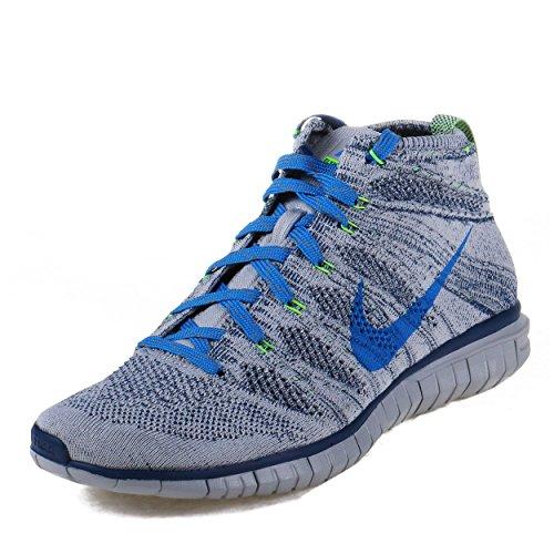 Nike Mens Free Flyknit Chukka Wolf Grey/Photo Blue-Brave Blue Fabric Size 11.5