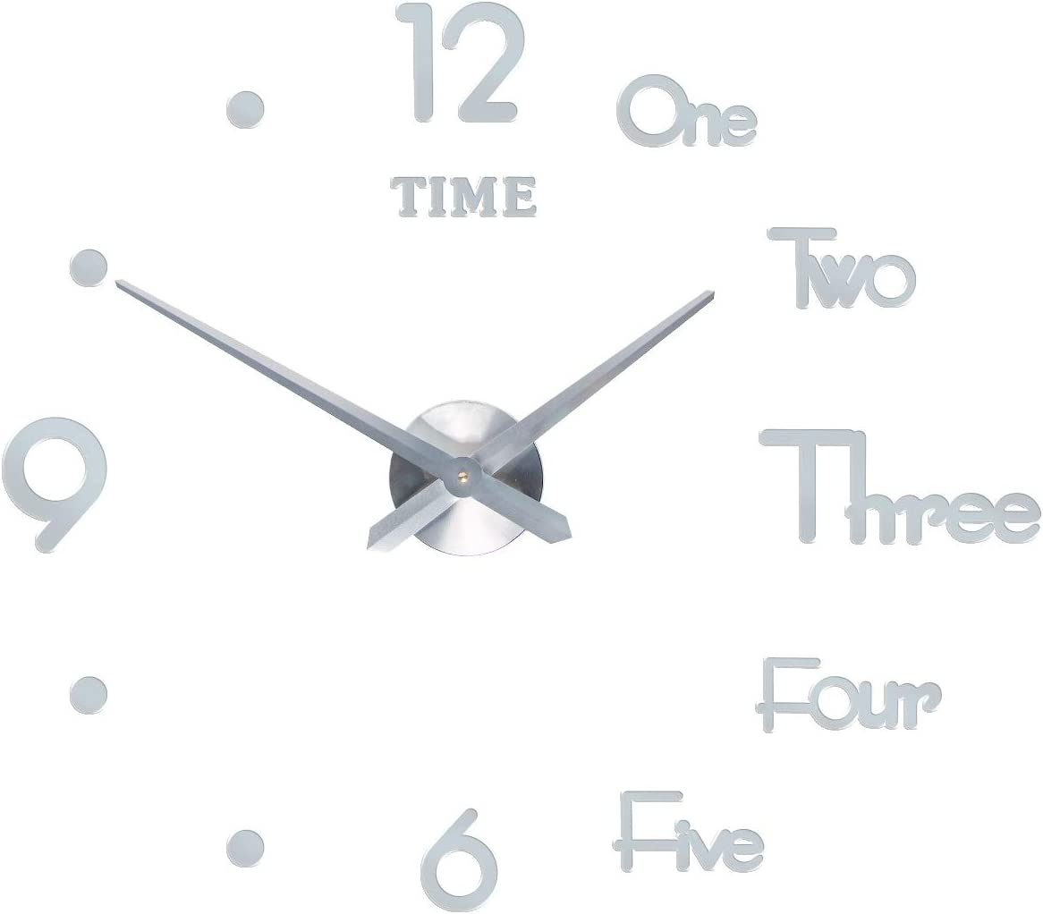 SEJU Large Modern 3D Stick on Wall Clock, Silent Non Ticking DIY Frameless Funky Wall Clock Stickers for Living Room Kitchen Bedroom Office Home Decor Gift (Silver)