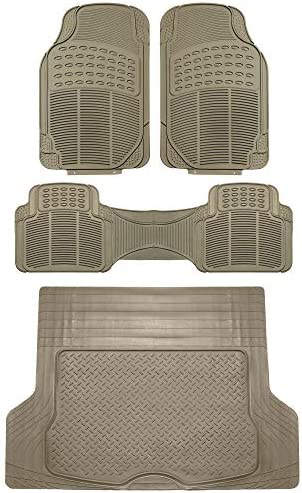 FH Group F11306 + F16400 Trimmable Vinyl Floor Mats (Beige) Full Set – Universal Fit for Cars Trucks and SUVs