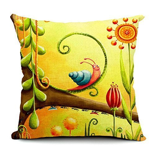 C5339F Cotton Linen Decorative Throw Pillow Case Cushion Cover Snail 18x 18 I Like Exercise