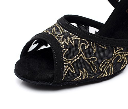 QJ6181 Shoes Latin Minitoo Ballroom Satin Black Women's Mesh Dance Mary Jane AqBd1w