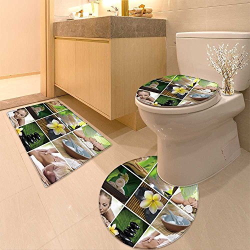 3 Piece Toilet mat set Vine leafage seamless background for continuous replicate Textures Non-Slip Bathroom Mats Contour Toilet Cover Rug