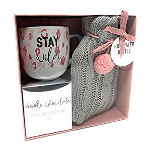 Cosy Hot Chocolate, Mug and Hot Water Bottle Christmas Gift Set- (Stay Wild)
