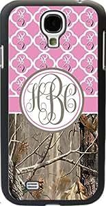 Country Girl Pink Buck Head Camo Quatrefoil Monogram CASE COVER FOR SAMSUNG GALAXY S4