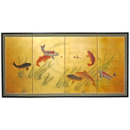 Oriental Furniture 36'' Gold Leaf Seven Lucky Fish by ORIENTAL FURNITURE