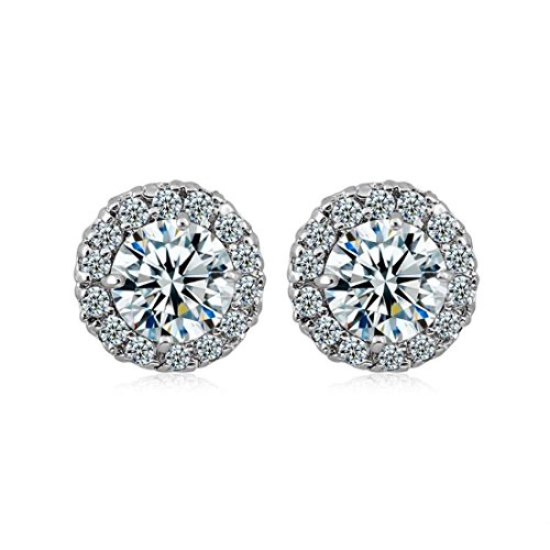 18K White Gold Plated Cubic Stud Crystal Zirconia fashion Hoop Clip On Wedding Earrings for Women Girls