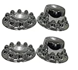 ZXLY ONE Set of 4pcs Chrome ABS Axle Covers with 4PCS Lug NUT for Dodge RAM 4500/5500 10HOLES