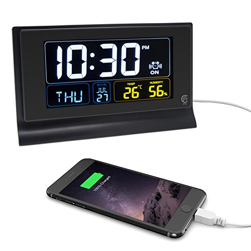 JCC Multifunction LED Screen Digital Desk Alarm Clock with Dimmer, Snooze, Auto DST Function, Temperature and Humidity Display, USB Ports for Smartphone and Tablets Charging