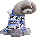 Mikey Store Pet Dog Warm Clothes Puppy Jumpsuit Doggy Apparel (Blue, M)