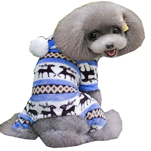 Mikey Store Pet Dog Warm Clothes Puppy Jumpsuit Doggy Apparel (Blue, S) ()