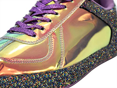 ROXY ROSE Womens Sneaker Flats Metallic Leather Glitter Fashion Sneakers Shoes Lace Up