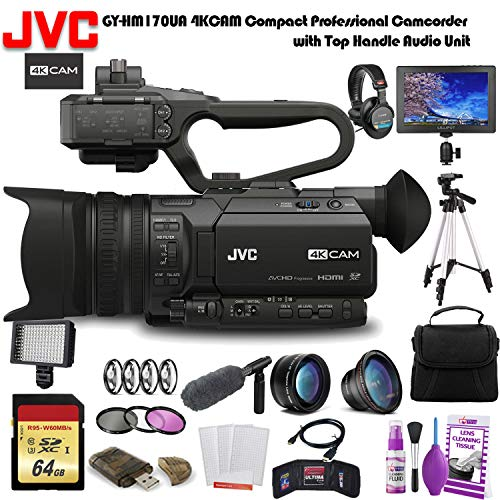 JVC GY-HM170UA 4KCAM Compact Professional Camcorder with Top Handle Audio Unit (GY-HM170UA) W/ 64GB Memory Card, Bag, Tripod, Led Light, Sony Headphones, Mic, and External Monitor