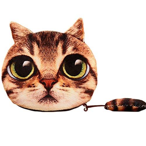 Emorias 1pc Beau porte-monnaie chat Charmant sac à main de miroir de téléphone portable Sac de maquillage formidable