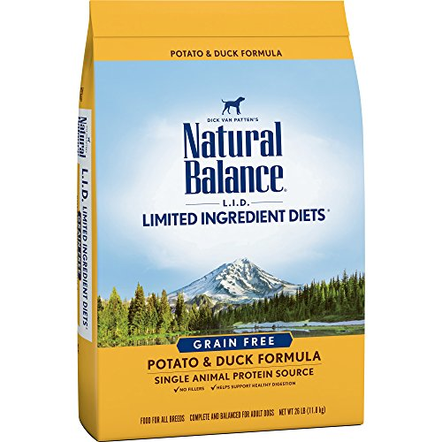- Natural Balance Limited Ingredient Diets Potato & Duck Formula Dry Dog Food, 26 Pounds, Grain Free